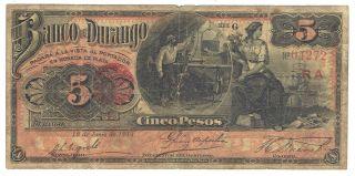 Mexico S273d Banco De Durango 5 Pesos 1913 Issue photo