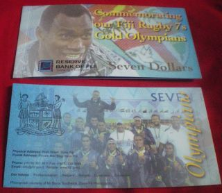 2017 Fiji $7 Seven Dollars Folder Rio Olympics Rugby Gold Commemorative Note Unc photo