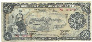 Mexico S1110a Gobierno Provisional De Mexico Veracruz 20 Pesos 1914 Issue photo