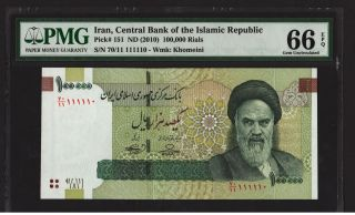 2010 Iran Persia Banknote,  100,  000 Rials,  Pmg 66 Unc P :151 Binary Serial photo