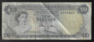 Bahamas,  10 Dollars 1974,  Pick 38b Sign Allen (rare Date) photo