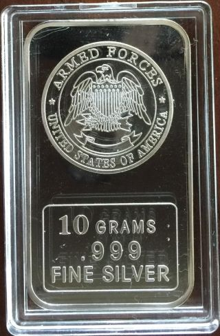 Silver Bar 10 Grams.  999 Fine Silver,  U.  S.  Armed Forces Design,  10g Silver Bar photo