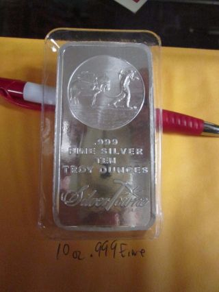10 Oz.  999 Fine Silver Prospector Bullion Bar photo