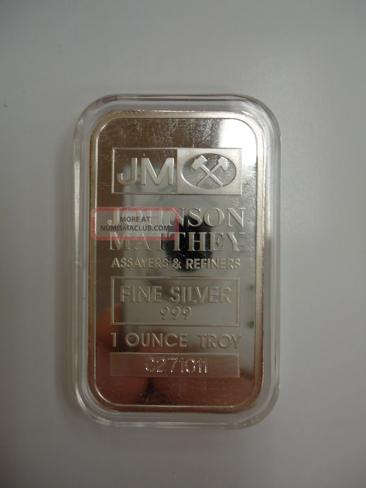Johnson Matthey 1 Ounce Silver Bar 999 Fs One Ounce