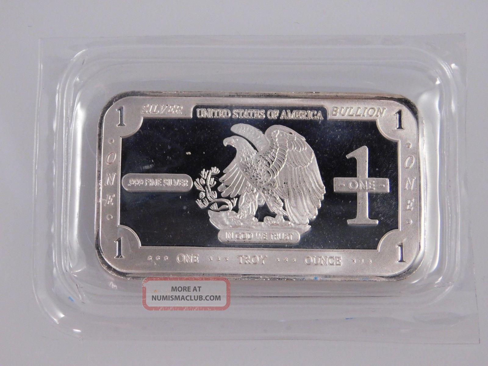 American Eagle Bullion Usa 1 Troy Oz Silver Bar.  999 Pure Silver photo