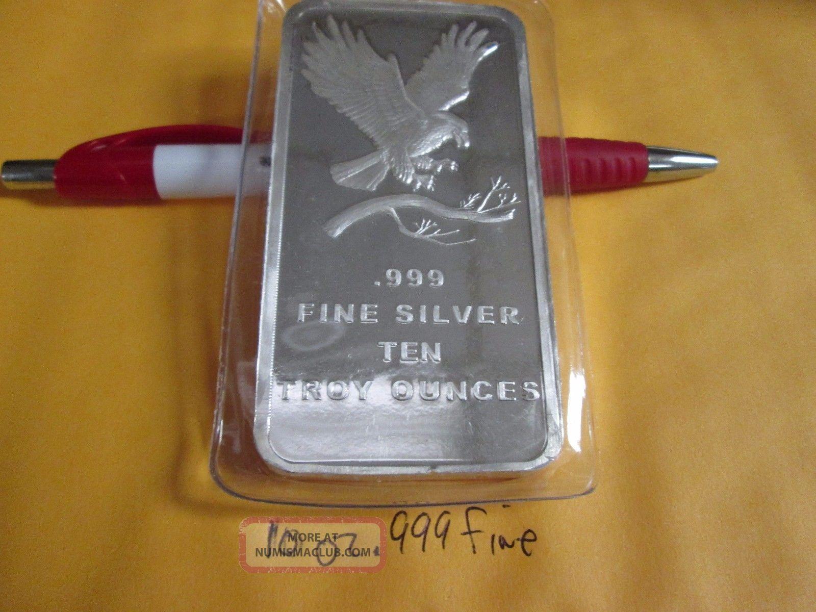 10 Oz.  999 Fine Silver Eagle Bullion Bar Bars & Rounds photo