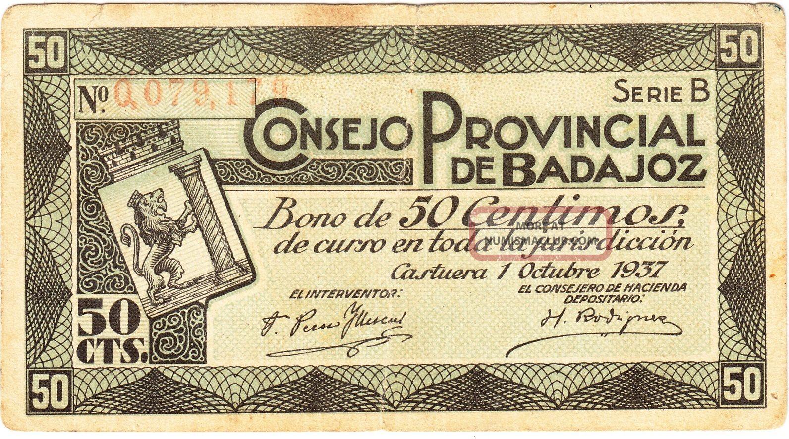 Spain / 50 Cents War Bond,  Provincial Council Of Badajoz,  Castuera 01 Oct 1937 Stocks & Bonds, Scripophily photo