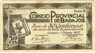 Spain / 50 Cents War Bond,  Provincial Council Of Badajoz,  Castuera 01 Oct 1937 photo