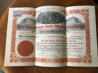 3 Stock Certificates1901 Red Spruce Gold Mining Co Cripple Creek Mining District photo
