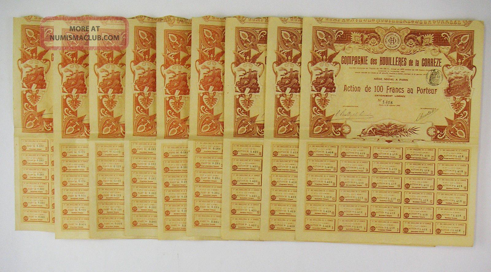 France 1903 - Cie Des Houillères De La Corrèze - 6 Parts Bénéficiaire & 3 Actions Stocks & Bonds, Scripophily photo