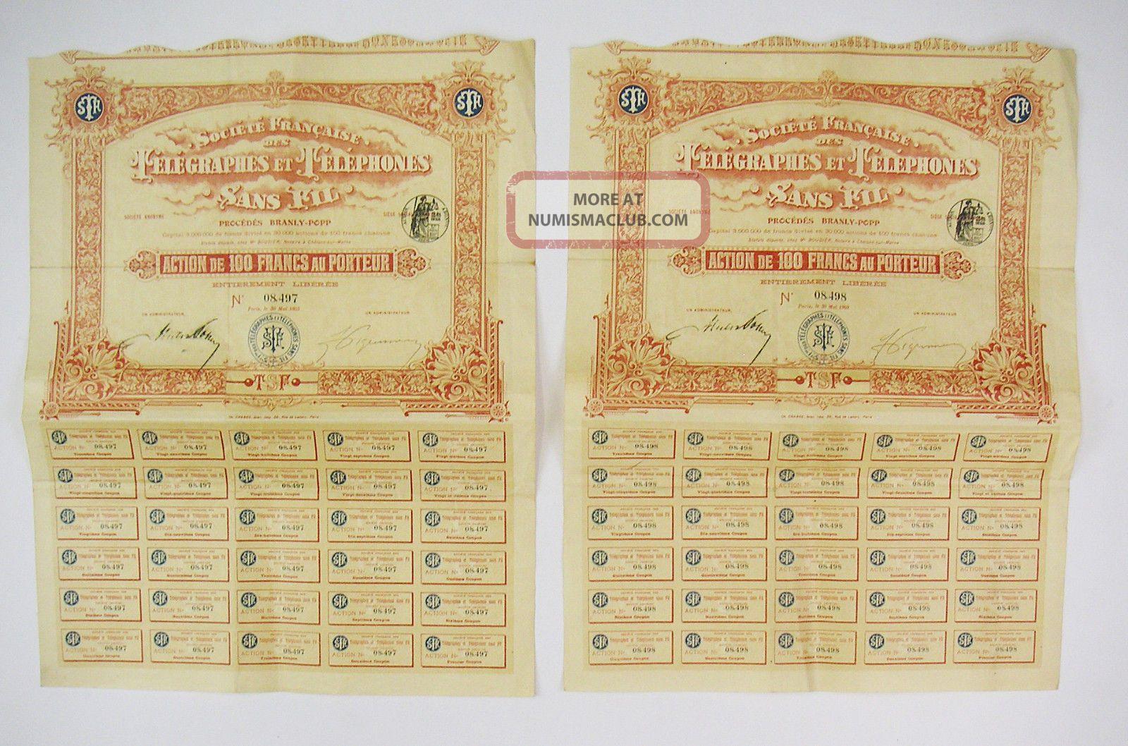 France 1903 - Sté Française Des Télégraphes Et Téléphones Sans Fil (x2) Stocks & Bonds, Scripophily photo