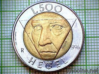 San Marino 1996 500 Lire,  Friedrich Hegel,  Bi - Metallic photo