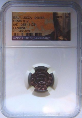 King Henry 1035 - 1125 Ad Ngc Medieval Lucca Denier Knight Templar Crusades Money photo