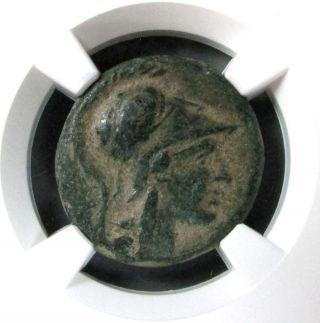 C.  200 - 133 Bc Ancient Mysia,  Pergamum Ae 20 Helmeted Athena Coin Ngc Very Fine photo