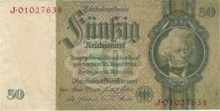 1933 50 Reichsmark Nazi Germany Currency Banknote Note Money Bank Bill Cash Wwii photo
