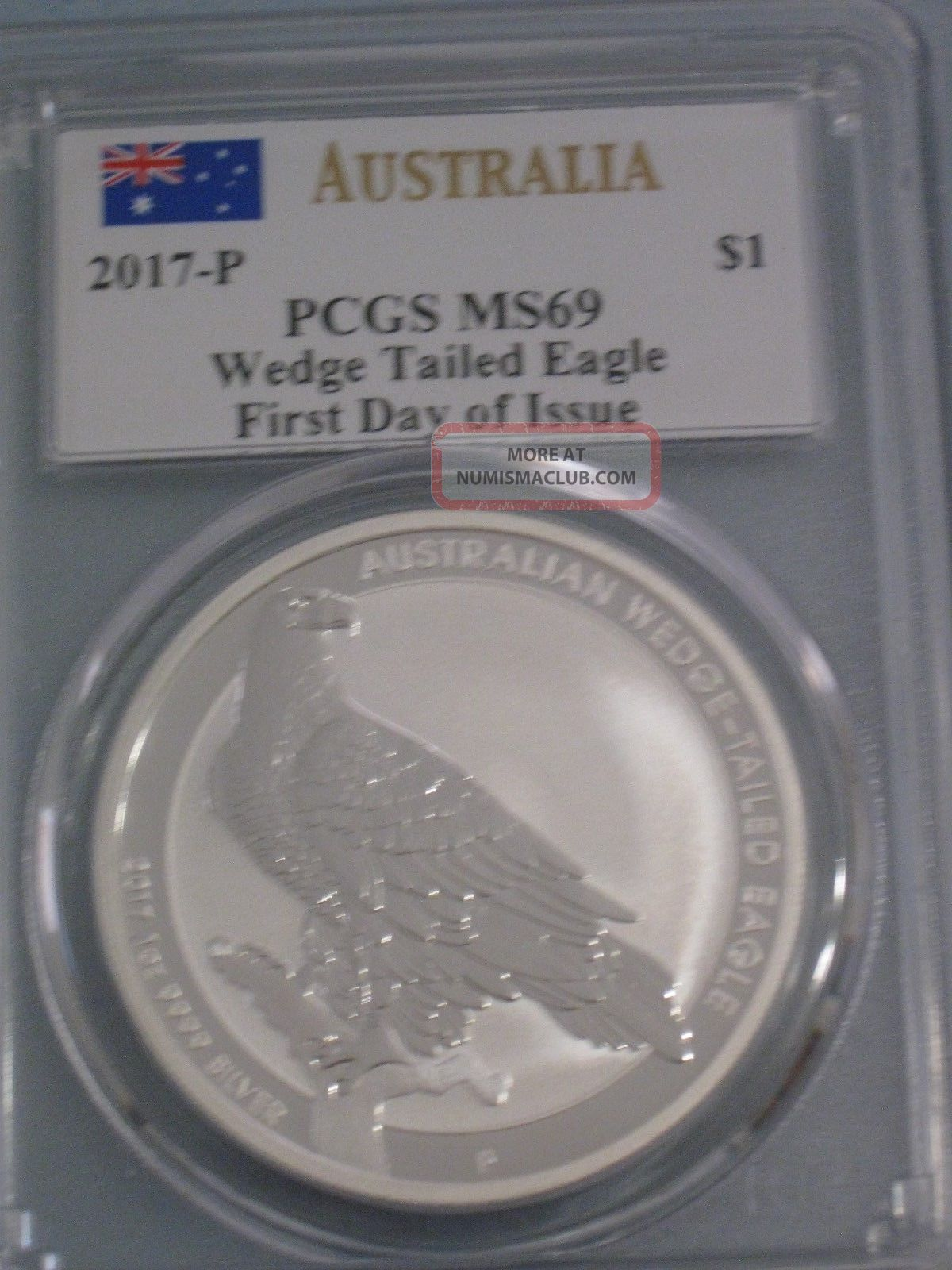 2017 P Australia Wedge Tailed Eagle Pcgs Ms 69 F D O