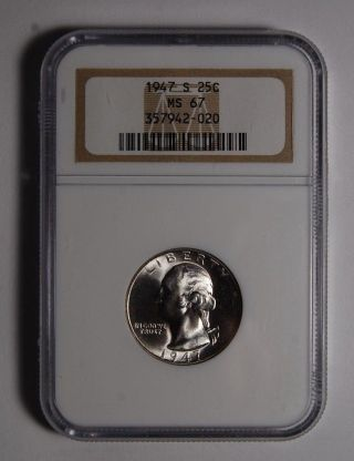 1947 - S 25c Washington Quarter Ngc Ms 67 photo