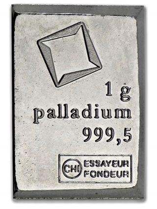 Palladium 1 Gram Valcambi Suisse Combibar Bar photo