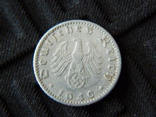 50 Reichspfennig 1940a Nazi Germany Coin With Swastika - Km 96 - (5308) photo