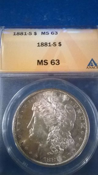 1881 - S $1 Morgan Silver Dollar,  Ms 63 photo