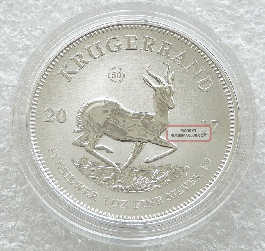 2017 South Africa 50th Anniversary Krugerrand Silver 1oz Coin With Africa photo