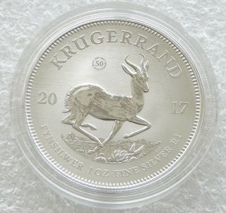 2017 South Africa 50th Anniversary Krugerrand Silver 1oz Coin With photo