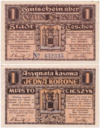 Poland,  Czechoslovakia,  1 Krone 1919,  Teschen - Cieszyn,  Aunc photo