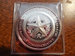 . 999 Silver Art Round - Texas Rangers Sesquicentennial - 1 Oz photo