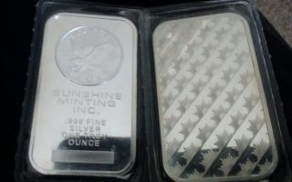 1 Oz.  999 Silver Bar - Sunshine Minting - Silver Eagle - Old Style photo