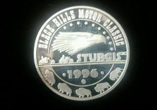 1996 1 Oz Silver Round End Of The Trail Black Hills Classic Sturgis photo