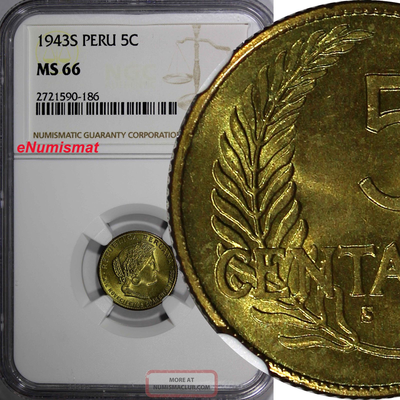 Peru Brass 1943 - S 5 Centavos Ngc Ms66 Better Date Top Graded By Ngc Km 213.  2a2 South America photo