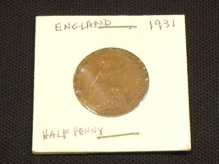 1931 Half Penny From Great Britain - photo