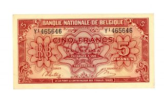 Belgium … P - 121 … 5 Francs … 1943 (1944) … Xf - Au photo