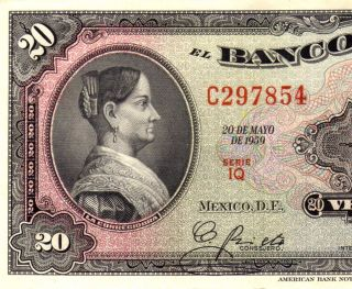 Mexico 1959 $20 Pesos Corregidora Serie Iq (c297854) photo