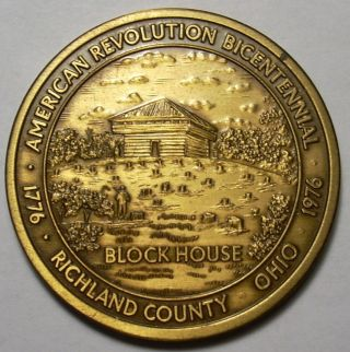 Richland County Ohio Bicentennial Medal Block House Johnny Appleseed 1976 Token photo