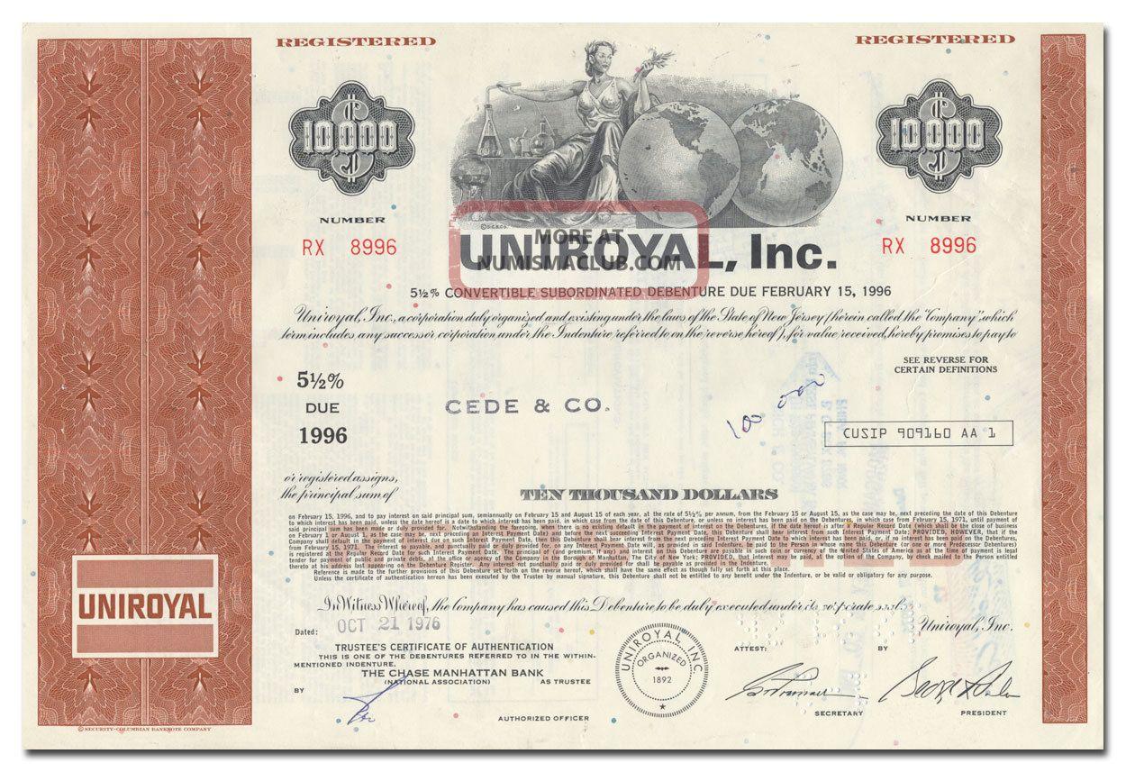 Uniroyal,  Inc.  Bond Certificate Stocks & Bonds, Scripophily photo