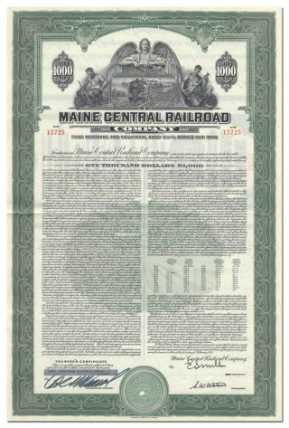 Maine Central Railroad Company Bond Certificate photo