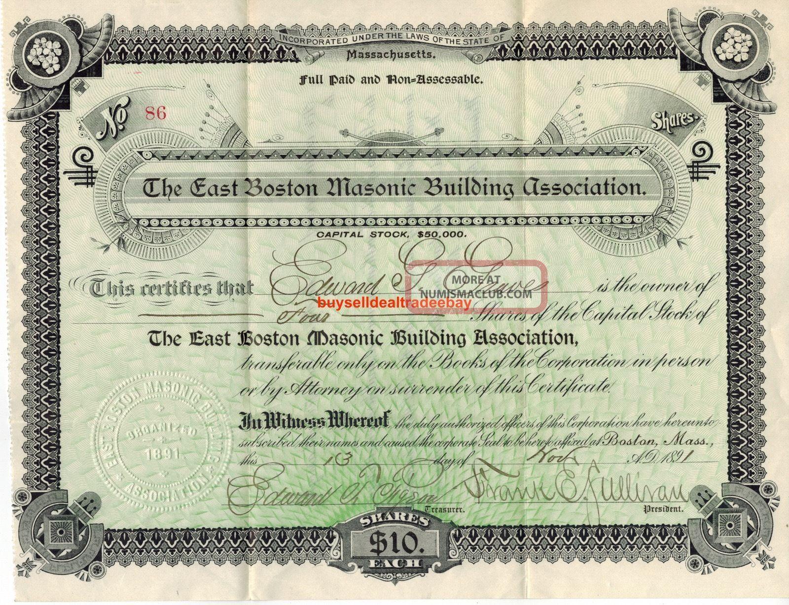 1891 East Boston Masonic Building Association Bond Stock Certificate Shares Rare Stocks & Bonds, Scripophily photo
