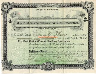 1891 East Boston Masonic Building Association Bond Stock Certificate Shares Rare photo