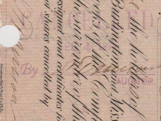 1878 Burlington And Missouri River Railroad Co.  Issued/cancelled/transferred. photo