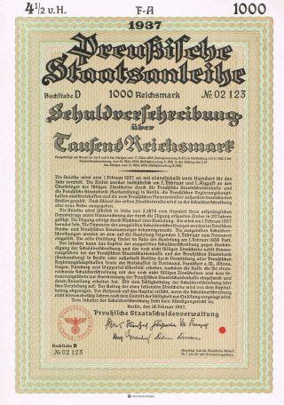 Nazi Germany - War Bond - 1937 - 1000 Reichsmark - Top photo