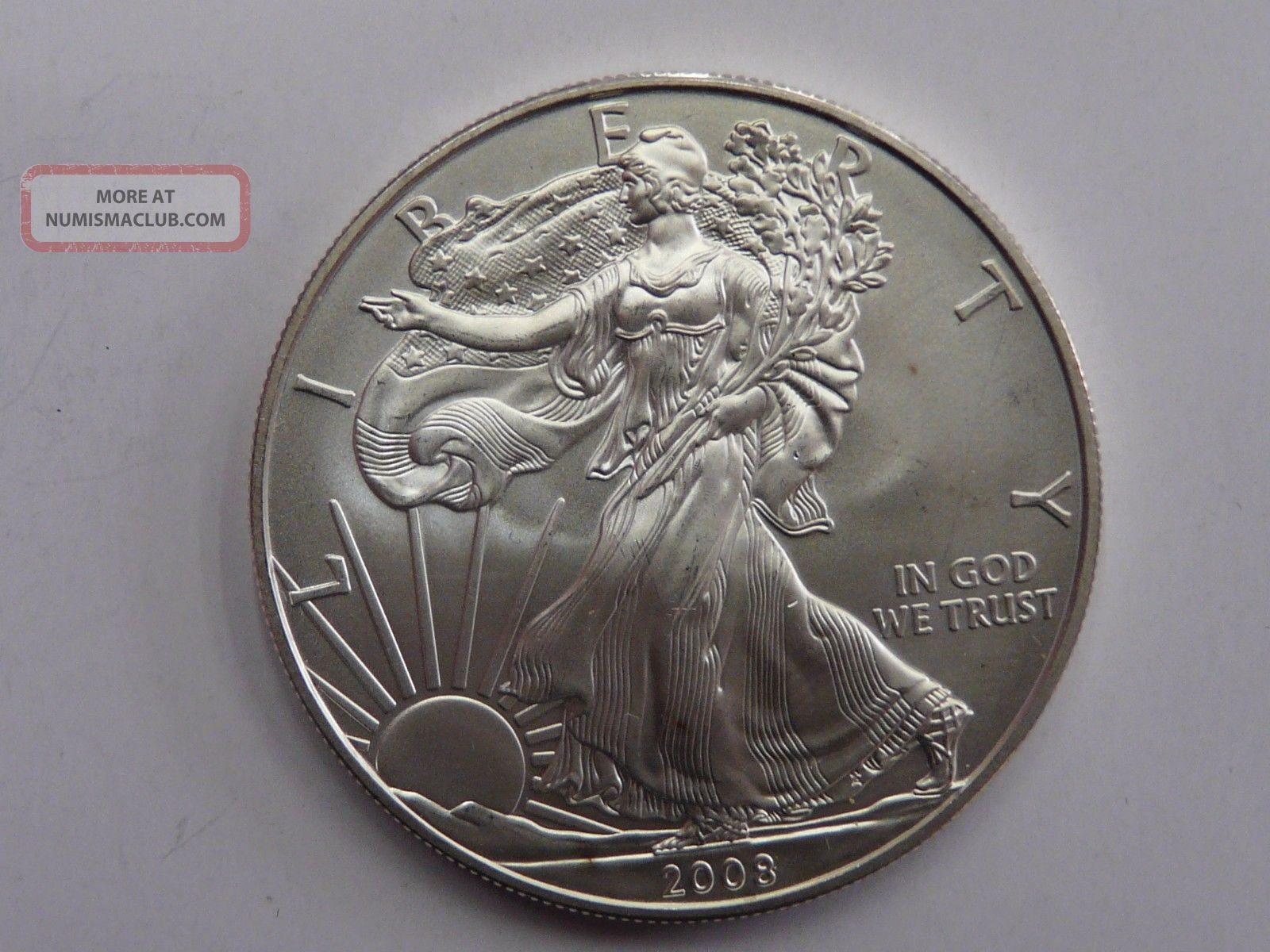 2008 American Eagle Walking Liberty 1 Oz Fine Silver