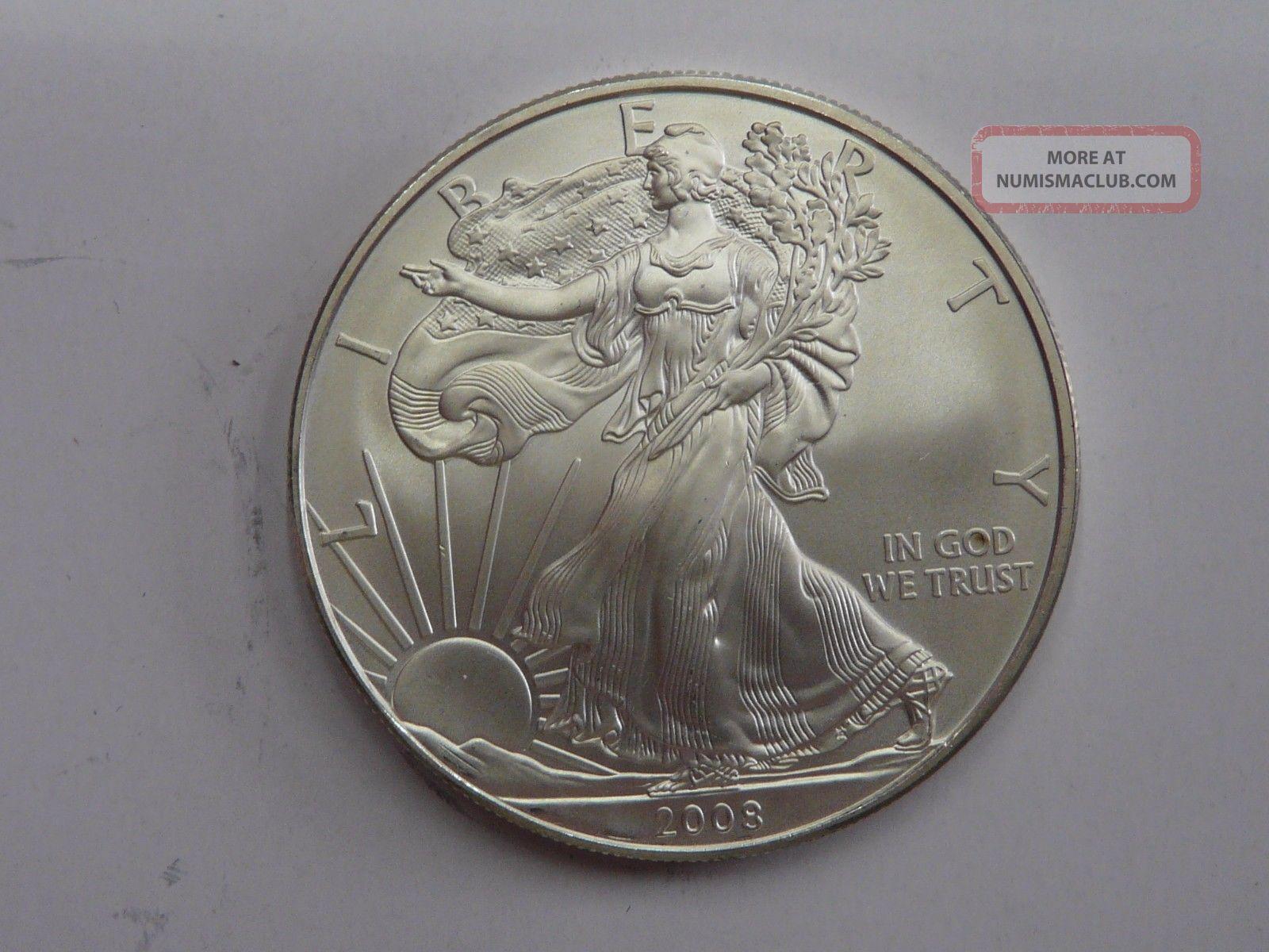 2008 American Eagle Walking Liberty 1 Oz Fine Silver Dollar Bullion Bar 1oz Coin Unc