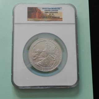 2010 P Grand Canyon Atb 5 Oz Silver Coin,  Ngc Sp 70 Early Releases photo