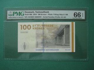 2010 Denmark Nationalbank 100 Kroner Pmg 66 Epq Gem Unc photo