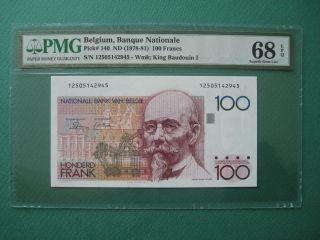 1978 - 81 Belgium 100 Francs Pmg 68 Epq Gem Unc
