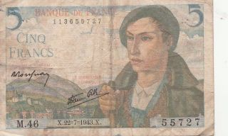 France,  An Old 5 Francs Note,  1943 photo
