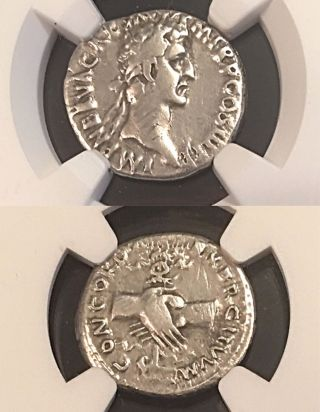 Nerva Clasped Hands Eagle & Prow 97ad Ngc Vf Ancient Roman Silver Denarius 3.  11g photo