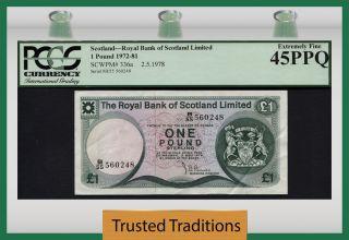 Tt Pk 336a 1972 - Scotland - Royal Bank Of Scotland Ltd 1 Pound Pcgs 45 Ppq photo