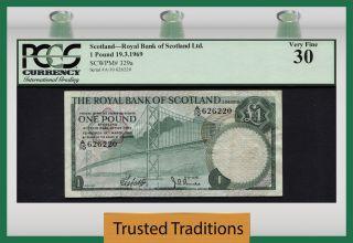 Tt Pk 329a 1969 Scotland - Royal Bank Of Scotland Ltd 1 Pound Pcgs 30 Very Fine photo